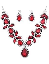 Yazilind mujeres joyería de plata plateado rojo imponente de cristal en forma de gota pendiente del collar fornido de la Parte