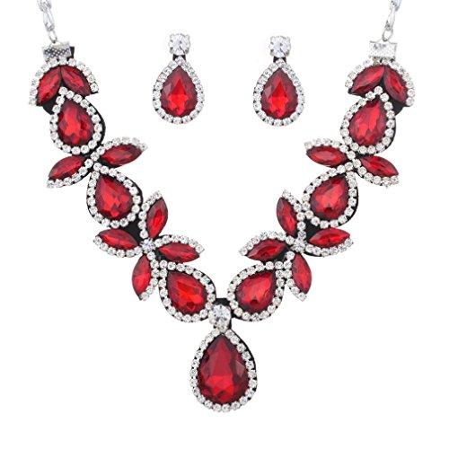 Yazilind Frauen-Schmuck-Set Silber überzogene rote Atemberaubende Kristalltropfen Geformte klumpige Halsketten-Ohrring für Partei