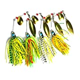Wildlead 4 Pcs Fishing Hard Spinner Lure Spinnerbait Pike Bass Crankbaits Artificial Baits Tackle Hook