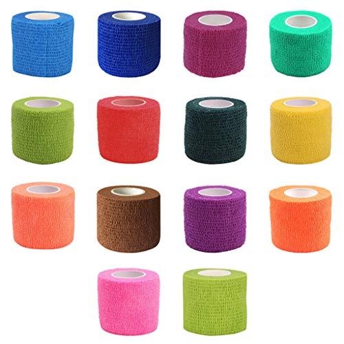 Kimruida 14 Rolls Selbstklebende Elastische Verband Medizinische Verbandskasten 14 Farben Band 5 Cm X 4,5 Mt Für Erwachsene Und Haustiere -