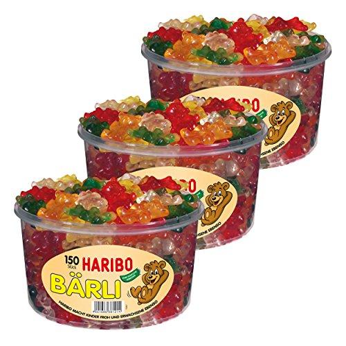 Haribo Bärli, 3er Set, Gummibärchen, Weingummi, Fruchtgummi, Große Bären Süßigkeit