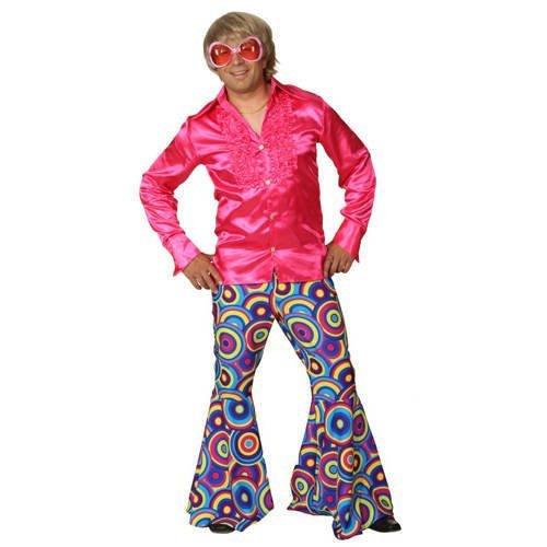 Schlaghose Crazy mit Hosentasche pink-blau, Erwachsenen-Größe:52/54