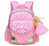 Juchen Ranzen mit Barbie-Puppe BabyRucksack Plaid Mädchen Backpack Bogen Prinzessin Schulrucksack Freizeit Schulranzen Wasserdicht (Pink1)