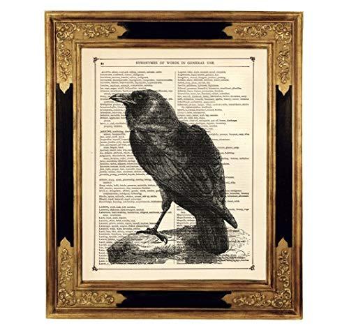 Rabe Gothic Druck Kunstdruck auf antiker Buchseite Geschenk Geburtstag Halloween Steampunk Vogel ungerahmt
