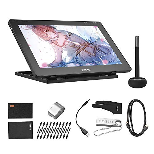 Aibecy BOSTO 16HDK 15,6Zoll H-IPS LCD Grafiktablett Display 8192 Aktive Technologie mit aktivem Druckpegel USB betriebenes, verbrauchsarmes Grafiktablett mit interaktivem Eingabestift