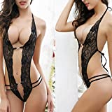 Moonuy Nuisette Sexy V-orné Babydoll Dos Nu Body Sexy Babydoll Lingerie Nuisette Dentelle Floral Combinaison Bustier Babydoll (Noir, M) - 6