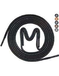 - 3 Paar - gewachste Business Schnürsenkel für Anzugschuhe, Rundsenkel in hoher Qualität aus 100% Baumwolle – Ø 2,5mm, dünn, rund und reißfest, Farben: Schwarz, Blau, Dunkelbraun, Braun und Grau