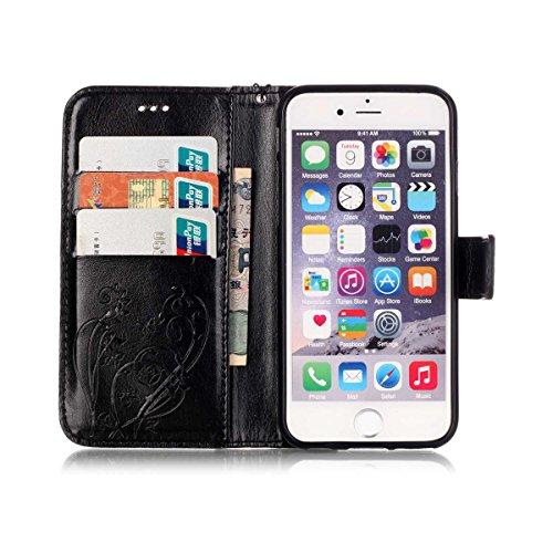 iPhone 6S Plus Hülle, iPhone 6 Plus Hülle, Lifeturt [ Rose ] PU leder Hülle Ledertasche Schutzhülle Case Tasche Standfunktion Brieftasche und Karte Halter für iPhone 6S Plus/6 Plus E02-Schwarz