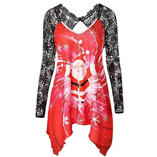OverDose Damen Mode Karneval Stil Frauen Weihnachten Weihnachtsmann Druck Spitze Tunika T-Shirt Party Bar Elegante Dünne Lange Hülse Top ()