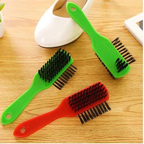 Zonster Schuhpflege-Werkzeug mit Leder-Langen Holzgriff polnischer Sponge Wipers Schuhbürsten Schuhbürste zufällige Farbe -