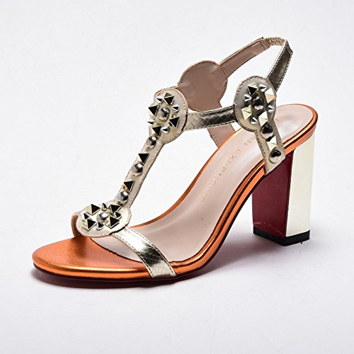 acf5d76787ca21 LGK FA Summer Women S Sandals Summer Metal Rivet Lady Elegant High-Heeled  Sandal Heel Fashionable Heel Sandal High 8.5Cm 37 Pale Gold - Buy Online in  Oman.