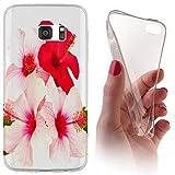Samsung Galaxy J5 (Modell 2016) J510 Softcase Hülle Cover Backkover Softcase TPU Hülle Slim Case für Samsung Galaxy J5 (Modell 2016) J510 (1101 Hibiskus Blume Rot Pink Rosa)