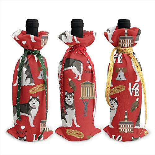 lamute Philly City Philadelphia Dog Lover Red Champagne Wine Bottle Bags Covers for Wedding Party Holiday 3 Pieces Set ()