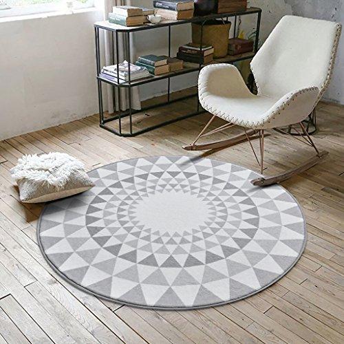 Creative Light- Ländliches Wohnzimmer Bereich Teppiche Runde Geometrisches Muster Schlafzimmer Bereich Teppiche Weiche rutschfeste Teetisch Computer Stuhl Matten ( Farbe : #2 , größe : 80cm ) (Teppich Geometrischen Bereich)
