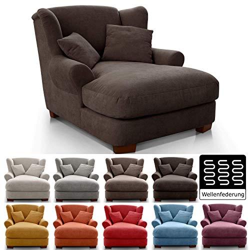 CAVADORE XXL-Sessel Oasis / Großer Polstersessel im modernen Design / Inkl. 2 schöne Zierkissen / 120 x 99 x 145 / Webstoff in dunkelbraun - Espresso Sessel
