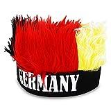 2 x HC-Handel 914184 Mütze mit Haaren Deutschland Stirnband mit flauschigen Plüschhaaren WM EM