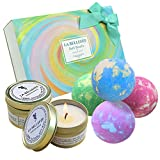 LA BELLEFÉE Bath Bombs and Scented Candles Gift Set Perfect for Bubble & Spa Bath Gift Idea for Christmas, Birthday Gift, Women, Best Friends, Girlfriend (4 x 112 g Bath Bombs and 2 x Scented Candles)