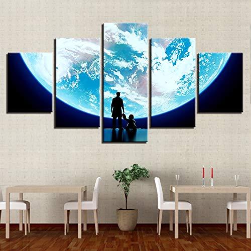 LZLZ 5 Leinwandbilder Wandkunst Bild Wohnzimmer Dekoration HD drucken5Stück Erde Malerei abstrakte Menschen Planeten Karte Poster modular