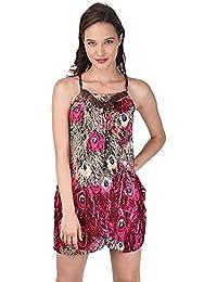 Peacock Print Bohemia Strap Dress- Red