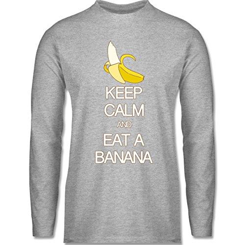 Keep calm - Keep calm and eat a banana - Longsleeve / langärmeliges T-Shirt für Herren Grau Meliert