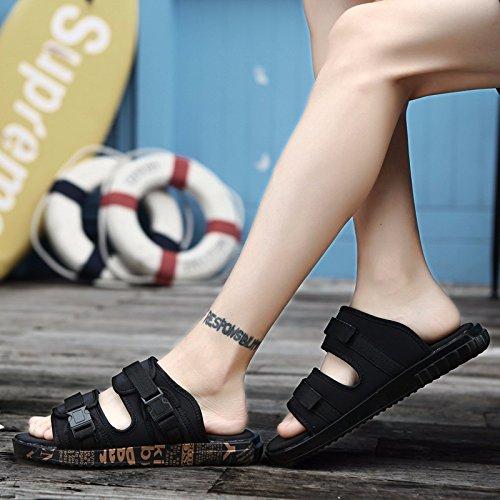 Noir Et Blanc, Pantoufles Pour Hommes, Chaussures De Plage D'été Sandales Anti-dérapant Tongs Or Noir