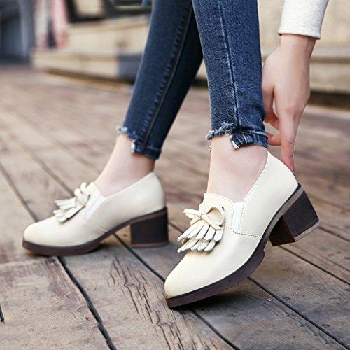 HWF Scarpe donna Spring Tassel Female Single Shoes Scarpe da donna in pelle casual stile britannico ( Colore : Nero , dimensioni : 39 ) Beige