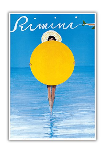 Pacifica Island Art Rimini, Italien - Italienisches Mädchen mit Sonnenschirm - Vintage Retro Welt Reise Plakat Poster von René Gruau c.1990 - Kunstdruck - 33cm x 48cm