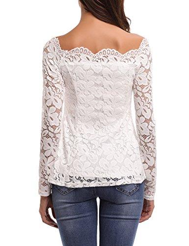Damen Bluse mit Spitze Tops Shirt Sexy Floraler Schulterfrei  Langarmshirt Spitzen-Top Weiß