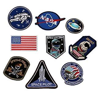 XUNHUI Raumschiff Astronaut Space Shuttle Flagge Eisen-auf Nähen auf Flecken Stickapplikationen Nähen Eisen auf Abzeichen Kleidung Patches