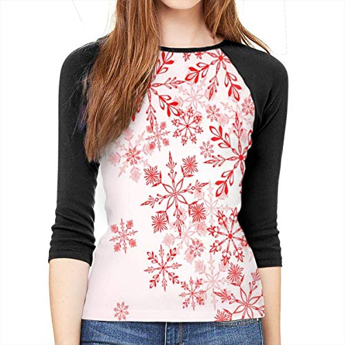 Henrnt Damen Bluse 3/4 Arm T-Shirt Bluse Top Christmas Winter Red Print T-Shirt Casual Crew Neck Tops Tee
