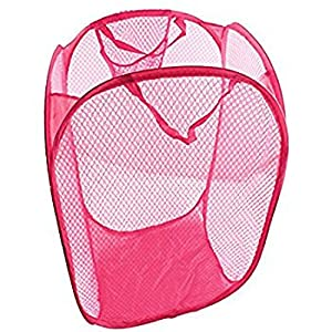 Auf Multipurpose Foldable Laundry Basket Bag for Storage of Clothes, Toys, Big (Pink)