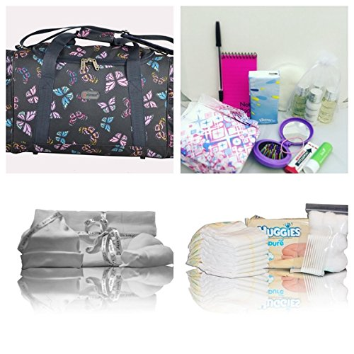 Luxury Baylis & Harding pre-packed hospital bag/maternity/holdall for Mum & Baby - 27 items! Navy butterflies - NEXT WORKING DAY* DELIVERY AVAILABLE (order by midday)