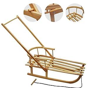 Rawstyle Holzschlitten mit Rückenlehne + Zugleine + SCHIEBESTANGE – Lehne – Kinderschlitten – Schlitten aus Holz NEU