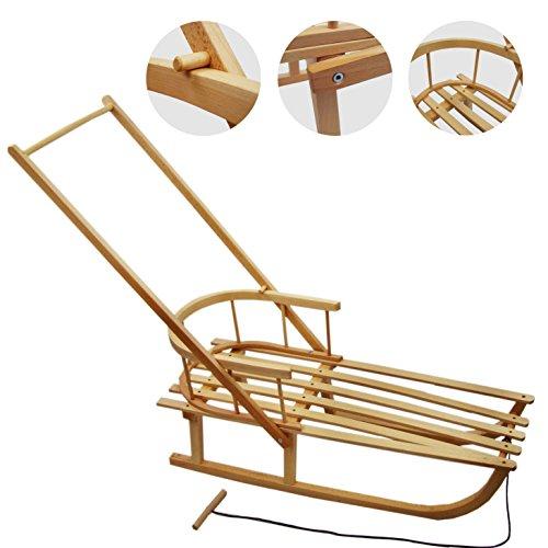 BAMBINIWELT, slitta in legno con schienale, con corda e asta, perbambini