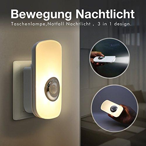 Sensky 3-in-1-Bewegungsmelder Nachtlicht 3000K Wiederaufladbare Taschenlampe Notfall Nachtlicht für Schlafzimmer, Badezimmer, Baby-Raum, Treppen, - 1 Led-taschenlampe