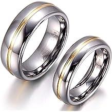 JewelryWe Par de Alianzas de Boda Anillos de Compromiso Originales, Acero de Tungsteno Anillos de Eternidad Raya Dorada Pulidos, Regalo de San Valentín