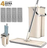 Mop Bucket System 360° Rotating Head Squeeze Flat Mop with 4pcs Microfiber Replacement Mop Pads Mop Set for Ha