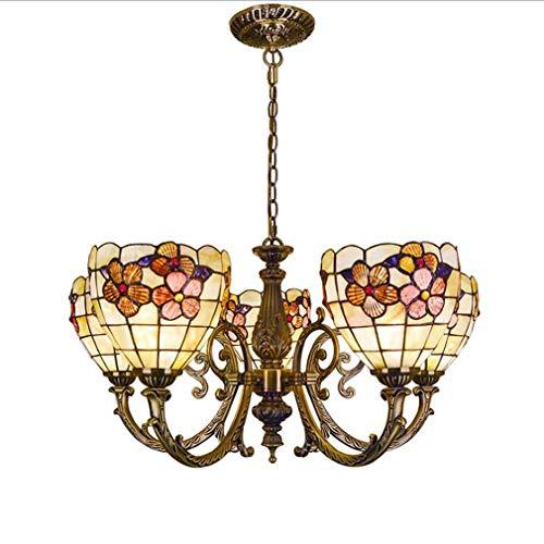 Kronleuchter Tiffany-Stil 6,8-Zoll-reiche Blume natürlichen Shell Shaded, Bronze Zink-Legierung Lampenfassung Vintage Anhänger Beleuchtung kreative Decke Hängeleuchte,B -