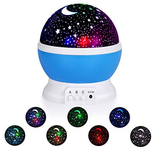 Sunnest Veilleuse Enfants Projecteur Etoiles - Lampe Enfant de Projection LED, 8 Couleurs 3 Modes,Lampe d'Ambiance Cadeau Décoration Anniversaire Soirée Noël