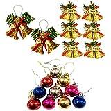 OJUS | Christmas Decoration Bucket | Home Decor | (Pack Of 6 Small Bells + 2 Medium Bells + 10 Decoration Colorful Balls)