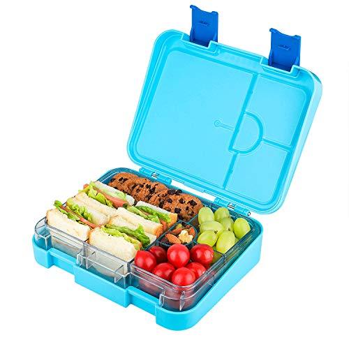 Laxstory Kinder Lunchbox Bento Box mit variablen Fächern für Schule Arbeit Picknick Reisen Unterwegs, Spülmaschinegeeignet- BPA frei