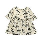 MML Girls Dress, Toddler Infant Cartoon Dinosaur Print Button Half Sleeve Sun Dresses Clothes Outfit (12-18 Months, Beige)