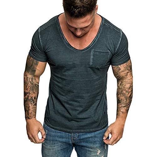 98664b5c57 BaZhaHei T-Shirt con Tasca Maniche Corte O-Collo Casuale Tee - Canotta Uomo