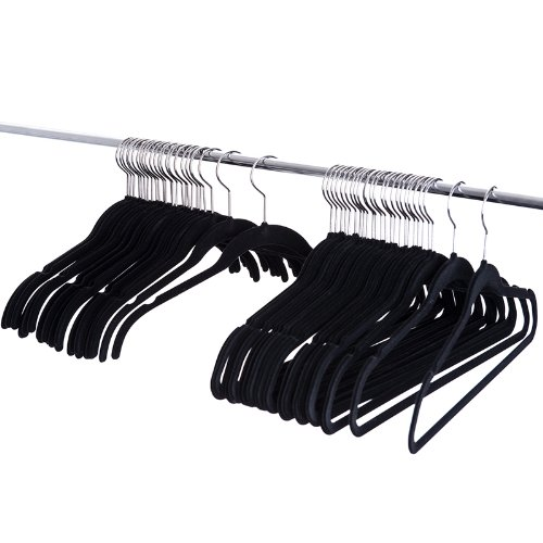 ZNL 80- teiliges Set rutschfeste magic Kleiderbügel,platzsparende,mit Samt überzogen, Schwarz(25 x Bügel mit Steg,25 x Bügel ohne Steg,15 x Haken (Kaskade),14 x Klips,1 x Tuch & Krawatten Halter) KZR01 (Bügel Magic)