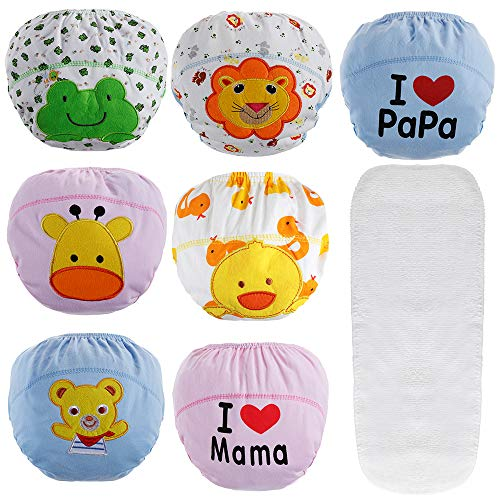 Lictin 7 pezzi mutandine di apprendimento - mutandine apprendimento riutilizzabile con un pannolini lavabili per bambini piccoli 2 - 3 ann