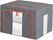 Clothes Storage Bags Organizer Container - With Steel Frame Foldable Oxford Cloth Storage Box, with Clear Wind
