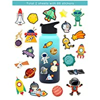 HaokHome S-020 66pcs Universe Rocket Sticker Planet Space Decor for Kids Boys Nursery Kindergarten Teacher Computer Notebook Car Skateboard Bicycle Luggage Guitar Bike Stickers for Water Bottles