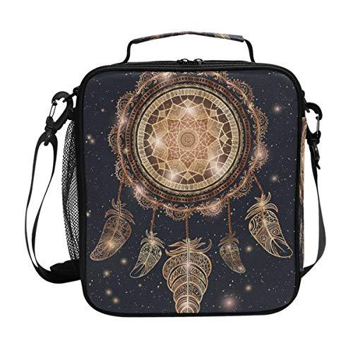 CPYang - Bolsa térmica para el almuerzo con correa para el hombro, diseño de galaxia atrapasueños, incluye bolsa térmica con plumas, para hombre y mujer