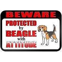 Beware protegido por Beagle con actitud 9x 6aluminio señal de Metal Signs Vintage señales de tráfico placas de lata Signs placa decorativa
