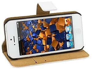 mumbi Ledertasche im Bookstyle für iPhone SE 5 5S Tasche weiß
